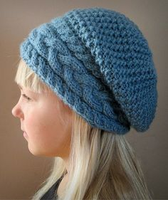 Knitting Pattern for Stillness of Winter Hat - #ad Slouchy hat in adult, child, and toddler sizes features a wide cable band with 3 cables. tba slouchy hat beret