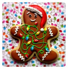 Grand Prize Winner In The King Arthur Flour, Bake The Season Bright Cookie Decorating Contest ~ Most Creative Category ~ Katrin S., Cookie Title, Tangled Up In Lights ~ 351 Votes