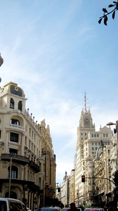 Gran Vía, Madrid.  A view down Gran Vía during a guided walk of the Madrid's most important and iconic street, part of AIL Madrid's Cultural and Social activities program.