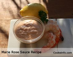MARIE ROSE SAUCE is a simple, classic sauce to go with shrimp, battered fish, or French fries. It's  quick and easy to make with no cooking required, just a quick stir. This version tastes identical to the classical version, but is a fraction of the calories. Pair this with cooked shrimp which is already naturally low in fat, and you have a healthy starter you can indulge in. 2 tbsps are 0 points+.  http://www.cooksinfo.com/skinny-marie-rose-sauce