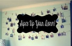 """Spice Up Your Dorm! Dorm rooms are the perfect place to express your personality and personal style! These simple DIY's can spruce up your dorm room and make it feel a little more """"you""""!  Photo wall art: What makes your dorm room more """"you"""" than pictures of your friends and family?! There are some really cool ...  Read More at http://www.chelseacrockett.com/wp/beauty/8411/.  Tags: #Decorations, #Diy, #Dorm, #MasonJars, #Pictures, #Chelsea Crockett, #Beaut"""
