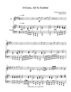 """""""O come, all ye faithful. Joyful and triumphant."""" This is a Christmas carol sung around the world. The hymn tune is """"Adeste Fideles"""" which has been attributed to various composers during the 1700's. This arrangement for Treble Eb instrument and piano accompaniment would make a great prelude on Christmas morning! (Approximately 4 minutes, 5 pages)"""
