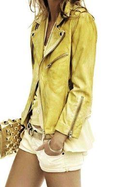 yellow leather jacket