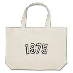 1975 Vintage Birthday Large Tote Bag - accessories accessory gift idea stylish unique custom