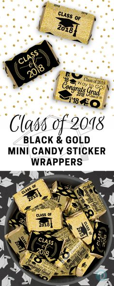 These Class of 2018 Black and Gold Graduation Party Stickers are made to perfectly wrap around Hershey's®️ Miniatures Bars for an simple and fun graduation favor. Graduation Party Foods, College Graduation Parties, Graduation Cookies, Preschool Graduation, Graduation Decorations, Graduation Day, Graduation Photos, Grad Parties, Grad Gifts