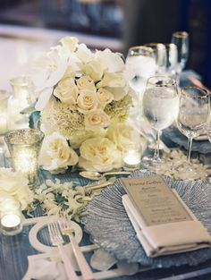 White flowers and gold accented place settings -EVOKE | Abby Jiu Photography