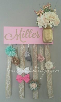 Items similar to Headband Bow Holder, Custom Name Board, Baby Girl, Pink Painted Board on Etsy Bow Hanger, Gold Nursery, Baby Nursery Themes, Family Birthdays, Baby Boy Shoes, Baby Girl Blankets, Babies First Christmas, Baby Girl Headbands, Trendy Baby
