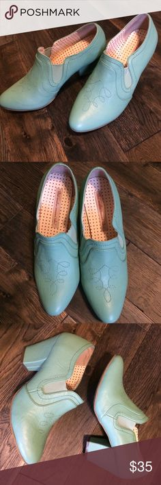 """B.A.I.T. (But another innocent tale...) Shoes Vintage inspired B.A.I.T.--But another innocent tale...shoes. Gorgeous turquoise color with stitching detail. Popular in the U.K. for the fun way it creates a retro look. Size 9. Worn twice because they are-unfortunately-just a little too big for me. Otherwise they would probably stay in my closet forever because they are just that adorable. Comfortable 3"""" heel. B.A.I.T.-But another innocent tale... Shoes Heels"""