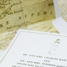 Simple and elegant, this custom wedding invitation features timeless fonts and a lovely lighthouse in moss green - Lighthouse and Vintage Map Wedding Invitation (Lake Superior).