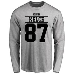 Travis Kelce Player Issued Long Sleeve T-Shirt - Ash - $25.95