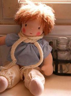 Waldorf doll Boy chestnut hair brown eyes striped by ruedubonheur by marissa