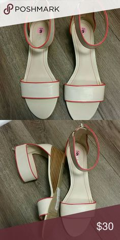 Nine West Wedge. NWOT. Size 9. Coral accent Nine West Wedge. NWOT. Size 9. Coral Accent Nine West Shoes