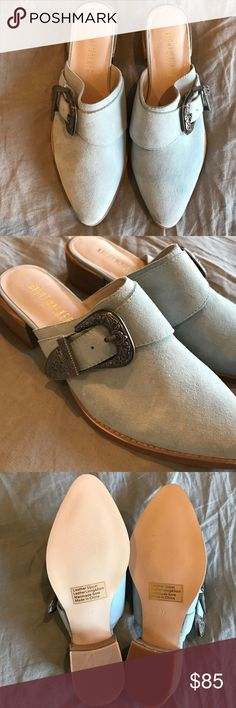 Nightwalker Mules Powder blue suede. These are Nightwalker from Free People. NEVER WORN. Size 37. Free People Shoes Mules & Clogs