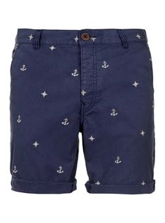 Blue Nautical Motif Shorts - Men's Shorts - Clothing - TOPMAN USA