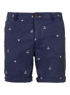 Blue Nautical Motif Shorts - Mens Shorts - Clothing - TOPMAN USA