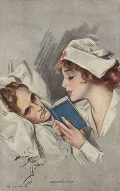 """Compensation"" WWI Red Cross nurse reading to a soldier. By Harrison Fisher. Good Books, Books To Read, Nurse Love, Nurse Pics, Vintage Nurse, Vintage Medical, Marcel Proust, Oldschool, Woman Reading"