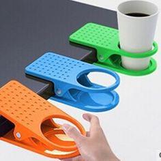 Creativo Drinklip cuarto de ministerio beber copa de agua taza de café de cristal titular soporte del Clip del Desk mesa de la cocina bastidores