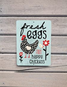 Fresh Eggs From Happy Chickens   Aluminum Outdoor Sign  Mineral Blue