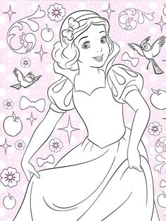 Snow White Coloring Pages Disney Books Cute Poster Color Pictures Chrochet Princess Therapy