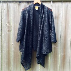 Black eyelet shawl with sleeves Black eyelet shawl with sleeves. Good condition. Ruby Rd. Jackets & Coats