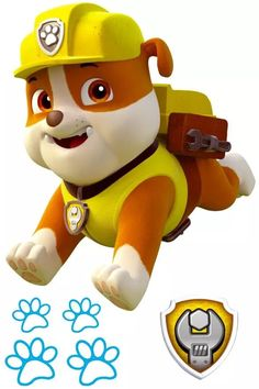 Looking to Meet Your Favorite Paw Patrol Characters? 7 Names to Know: Rubble from Paw Patrol Paw Patrol Png, Paw Patrol Rocky, Rubble Paw Patrol, Paw Patrol Cake, Paw Patrol Party, Paw Patrol Birthday Theme, Boy Birthday, Birthday Ideas, Childrens Wall Stickers