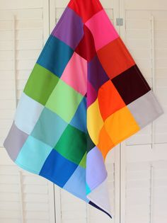 Baby Blanket - Gender Neutral Baby Blanket - Rainbow Color Block