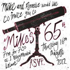 65th Birthday Invite by Nik Read, via Behance