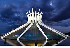 Brazil, Brasilia: Cathedral Metropolitana Nossa Senhora da Aparecida by night - Stock Image