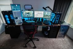 gamer room My dual PC stream setup / battle station! Best Gaming Setup, Gaming Room Setup, Pc Setup, Computer Gaming Room, Computer Desk Setup, Computer Station, Video Game Rooms, Home Office Setup, Game Room Design