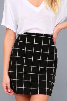 fc9c7a0b4 Oops, I Grid It Again Black and White Grid Print Mini Skirt ...