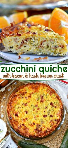 This Zucchini Quiche with Bacon and Hash Brown Crust is perfect for breakfast, lunch, dinner or any time in between! The crispy hash brown crust just takes it over the top and did I mention BACON? This easy quiche recipe is the perfect way to use up that Breakfast Quiche, Breakfast Items, Breakfast Dishes, Breakfast Recipes, Bacon Breakfast, Zucchini Breakfast, Breakfast Casserole, Hash Brown Casserole, Brunch Dishes