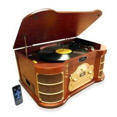 Bluetooth Vintage Style Turntable with AM/FM Radio, CD & Cassette Players, USB Flash Recording & Slide-Out iPod/MP3 Dock