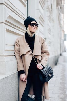 coat / Zara  knit / Zaful  pants / Zara  beanie / H&M  sunglasses / Celine bag / Chanel | Linda Juhola