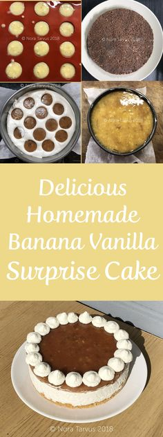 Perfect summer cake with vanilla and banana jelly. The hidden banana gel hemispheres make this cake more interesting. Quite easy to do and super delicious! Banana Jelly, Surprise Cake, Summer Cakes, Delicious Cake Recipes, Diy Cake, Cup Cakes, Party Cakes, Beautiful Cakes, Bananas