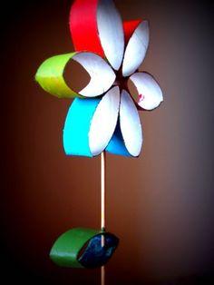 #knutselen, kinderen, kleuters, basisschool, bloem van wc-rol toiletpapier rol, karton, zomer, lente, #craft, DIY, children, elementary school, flower from TP roll
