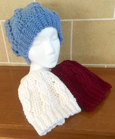 Slouchy Beanie XLong - Slouchy Hat - Cabled - Crochet - Sport / Team Themed - Burgundy / Light Blue / White - One Size Fits Most - XLong by SkeinsOfAnarchy on Etsy
