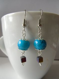 Turquoise beads with multi-color square beads earrings.dangle earrings.