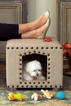 The 'Maggie' Ottoman works triple time as an ottoman, end table and seriously stylish dog house! <3