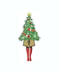 Fashion Girl Carrying Christmas Tree Christmas Instant Download Embroidery Machine Design PES BX – HERRINGTON DESIGN