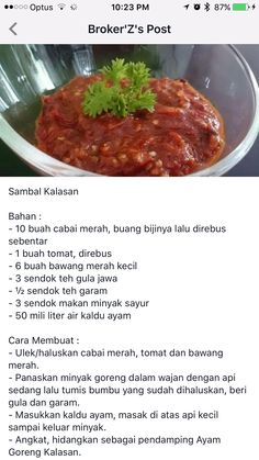 Sambal Sauce, Sambal Recipe, Indonesian Cuisine, Malaysian Food, Homemade Sauce, Other Recipes, Food Hacks, I Foods, Asian Recipes
