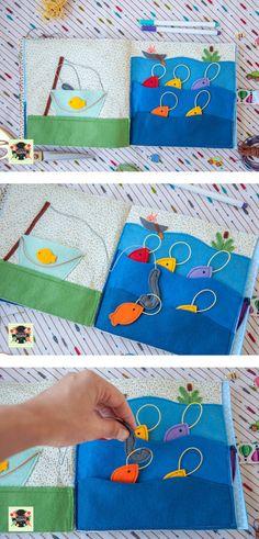 quite book - fishing - Добрые подарки: Развивающая книжка из ткани и фетра - Рыбалка
