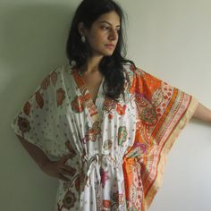 White Orange Floral Bordered Kaftan - Pajamas to live in, beachwear Caftan, spa robe..make great Anniversary or Birthday gifts, new mom Gift...