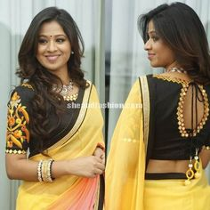 Manali rathod in yellow mirror work saree and boat neck blouse Saree Blouse Patterns, Saree Blouse Designs, Blouse Styles, Beautiful Blouses, Beautiful Saree, Mirror Work Blouse, Maggam Work Designs, Indian Designer Sarees, Indian Blouse