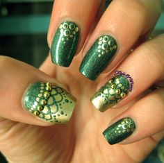 This is one of my favorite manis in a while. Maybe I just have a thing for green and gold…but seriously. I wanted to play around more with loops and half-moon designs, and just ran with it. The sta...