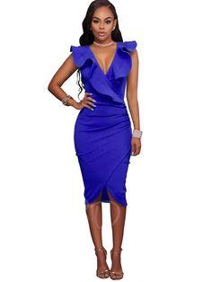 284a326e525a9 Falbala Ruffle Plain Bodycon Asym Women s Party Dress