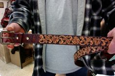 Belt / Western / Hand Carved and Tooled / Mens or Women's / Western Leather Belt