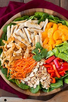 Mandarin Orange Salad (with Chicken!) - Cooking Classy Mandarine Orange Spinach Salad with Chicken and Lemon Honey Ginger Dressing Spinach Salad With Chicken, Spinach Salad Recipes, Chicken Salad Recipes, Diet Recipes, Cooking Recipes, Healthy Recipes, Cooking Tips, Healthy Salads, Healthy Eating