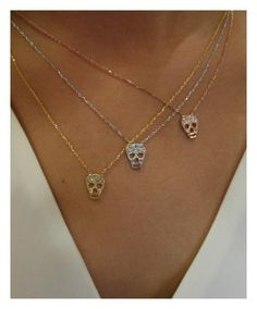 Skull necklaces now available! Love these, especially the rose gold