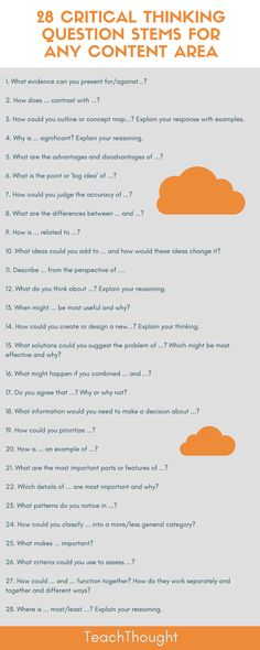 Critical Thinking Question Stems