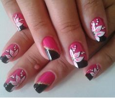 Easy red and black nail designs ideas - Fashion Va Nails, Pink Nails, Coffin Nails, Black Nail Designs, Nail Art Designs, Red Black Nails, Bright Colors Art, Birthday Nails, Flower Nails